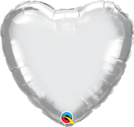 Heart Shaped Silver Chrome Foil Helium Balloon